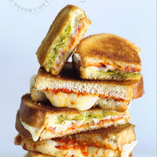 Pesto and Roasted Red Pepper Grilled Cheese via Real Food by Dad