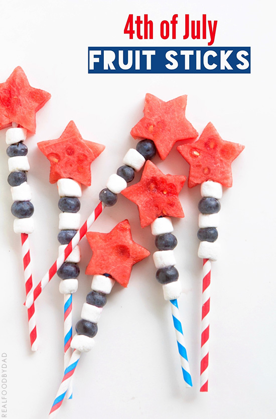4th of July Fruit Sticks via Real Food by Dad