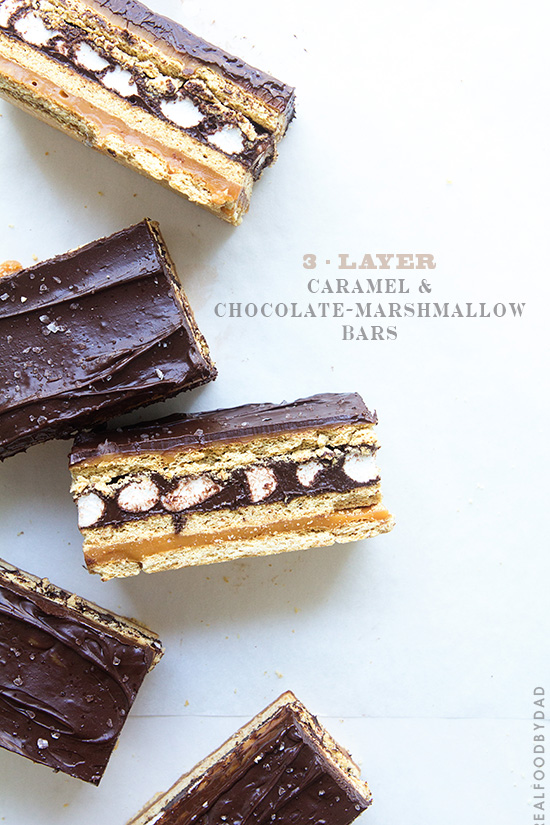 3-Layer Caramel and Chocolate-Marshamllow Bars via Real Food by Dad