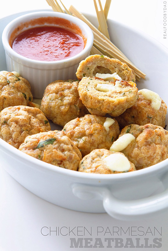 Chicken Parmesan Meatballs with Real Food by Dad