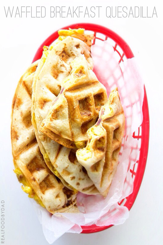 Waffled Breakfast Quesadilla via Real Food by Dad