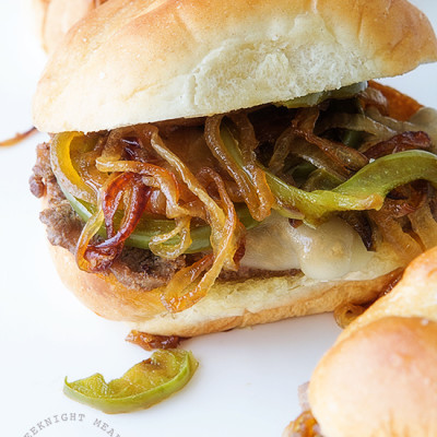 Philly Cheesesteak Sliders via Real Food by Dad