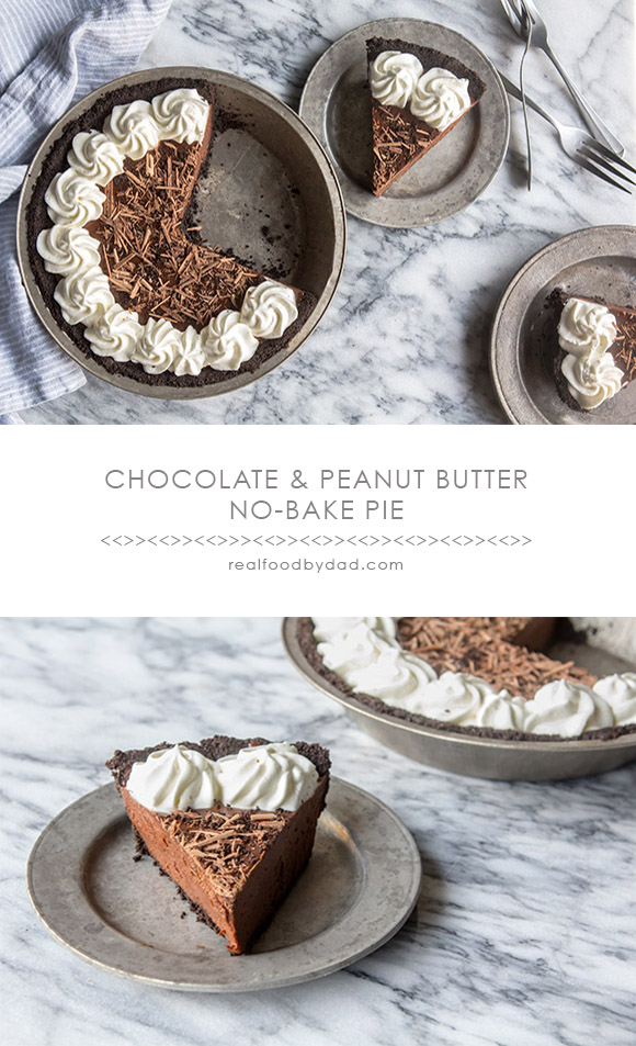 Chocolate and Peanut Butter Pie via Real Food by Dad
