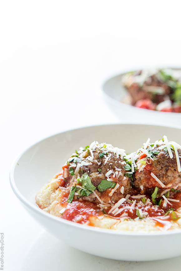 Easy Tomato Baked Meatballs with Polenta with Real Food by Dad