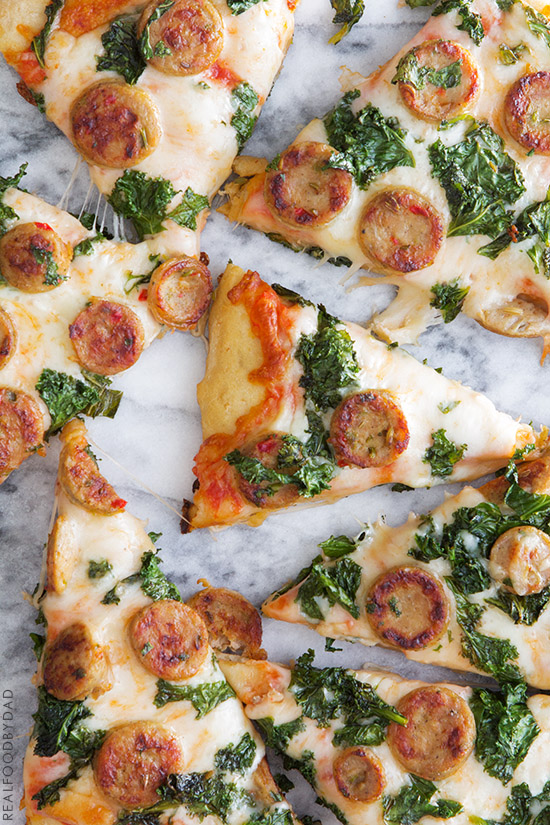 Balsamic Kale & Chicken Sausage Pizza via Real Food by Dad