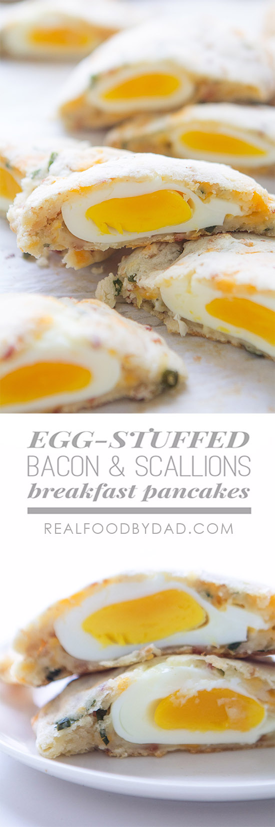 Egg Stuffed Bacon & Scallion Breakfast Pancakes