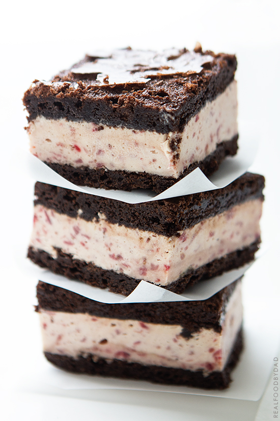 Strawberry Ice Cream Brownie Ice Cream Sandwiches   Real Food by Dad
