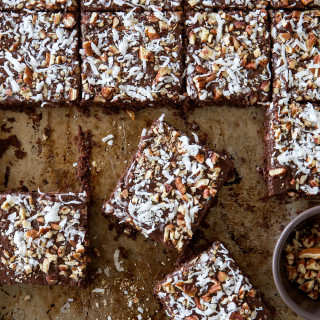 Chocolate Pecan and Coconut Sheet Cake via Real Food by Dad