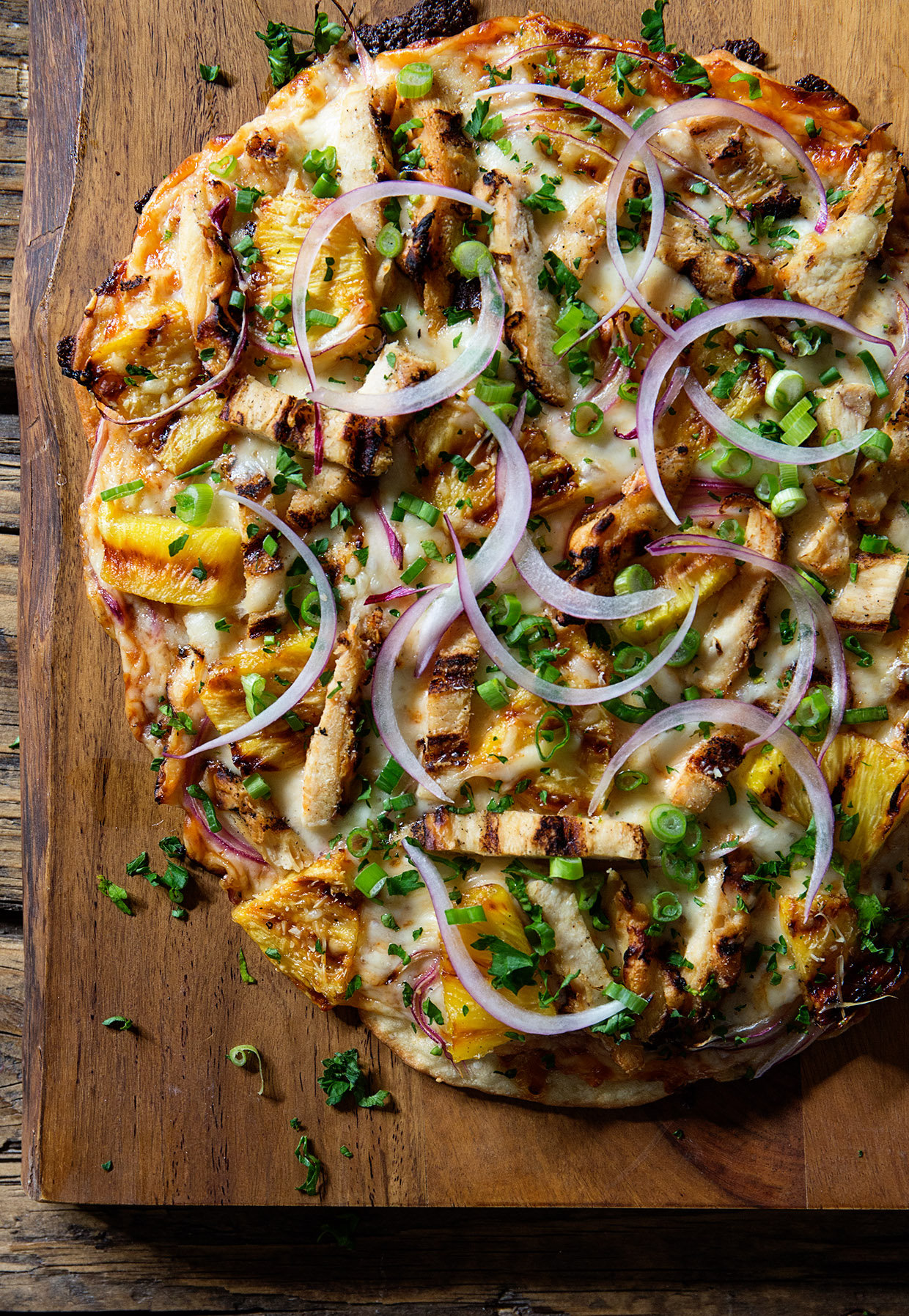 Hawaiian Grilled Chicken Pizza via Real Food by dad