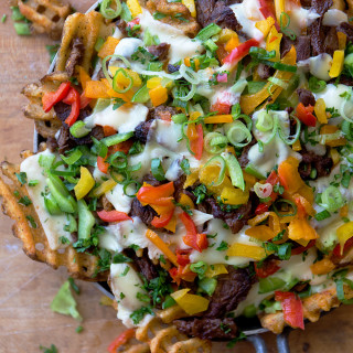Philly Cheese Waffle Nachos via Real Food by Dad