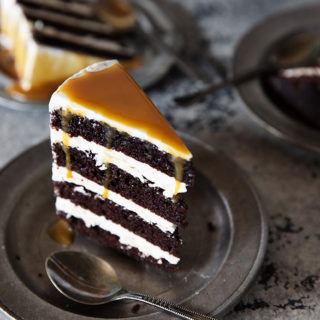 chocolate caramel cake via real food by dad