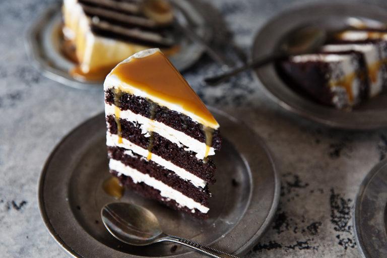chocolate caramel cake via real food by dad