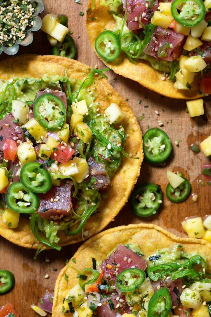 Poke Tostada via Real Food by Dad