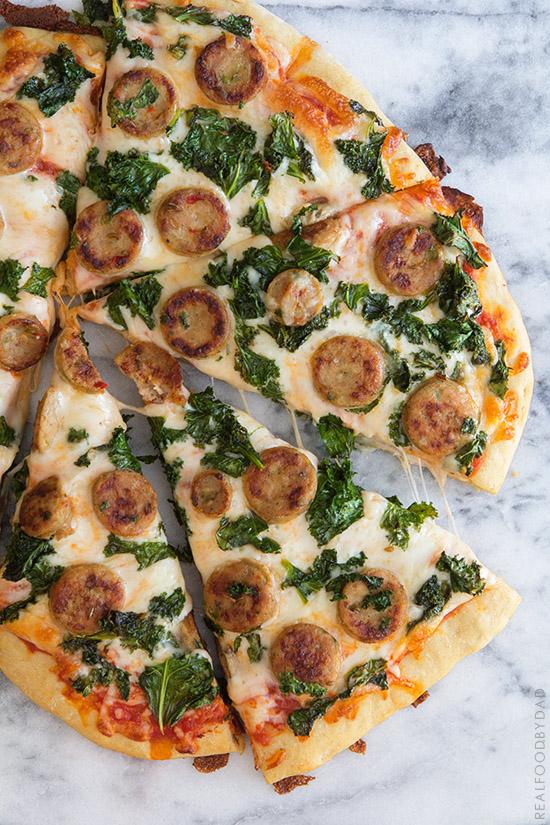 Balsamic Kale & Chicken Sausage Pizza