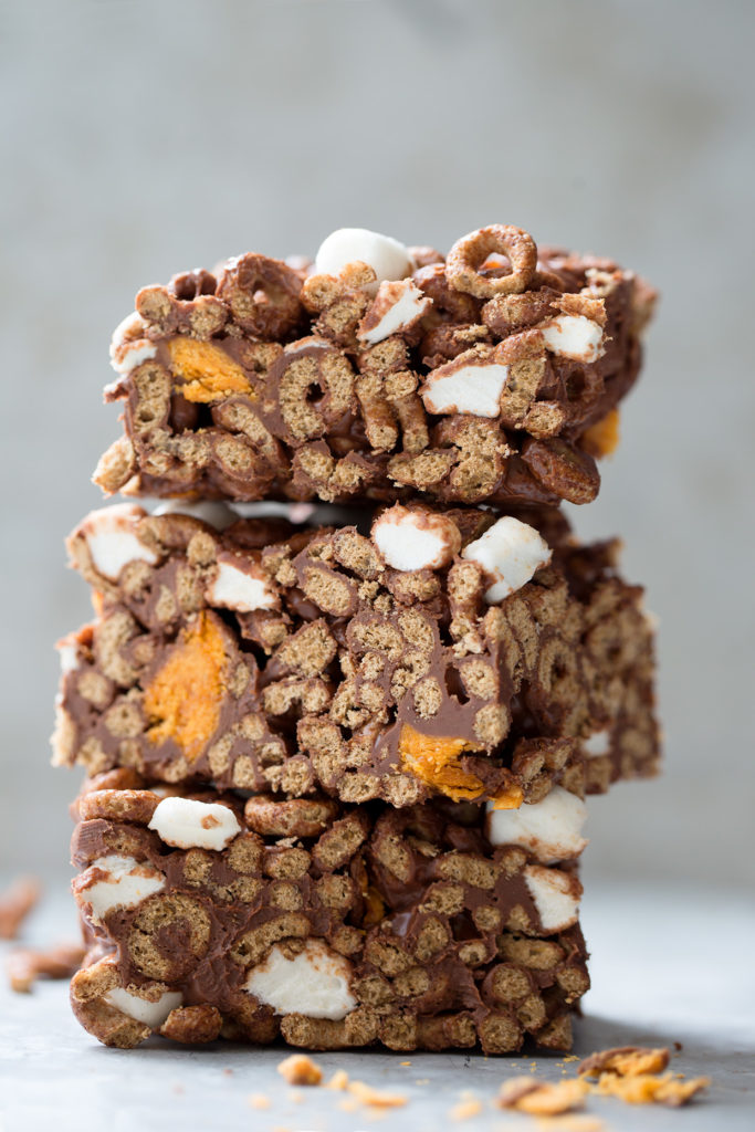 Butterfinger and Marshmallow Cereal Bars