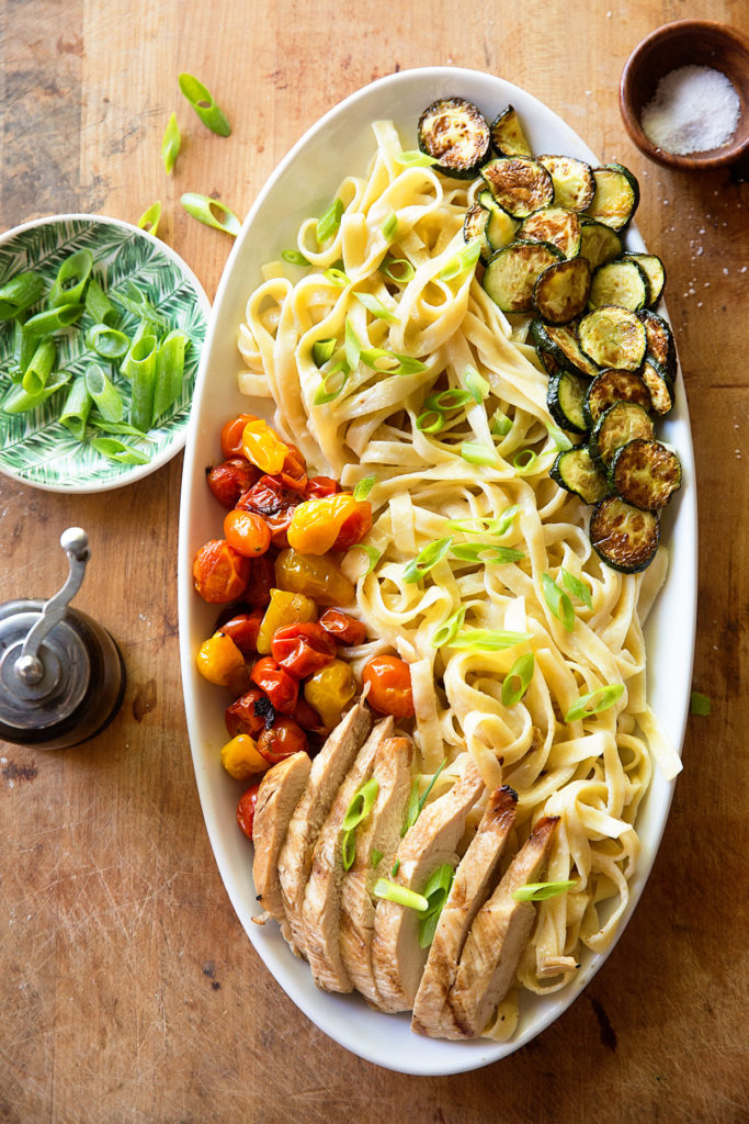 Chicken Alfredo with Roasted Summer Vegetables