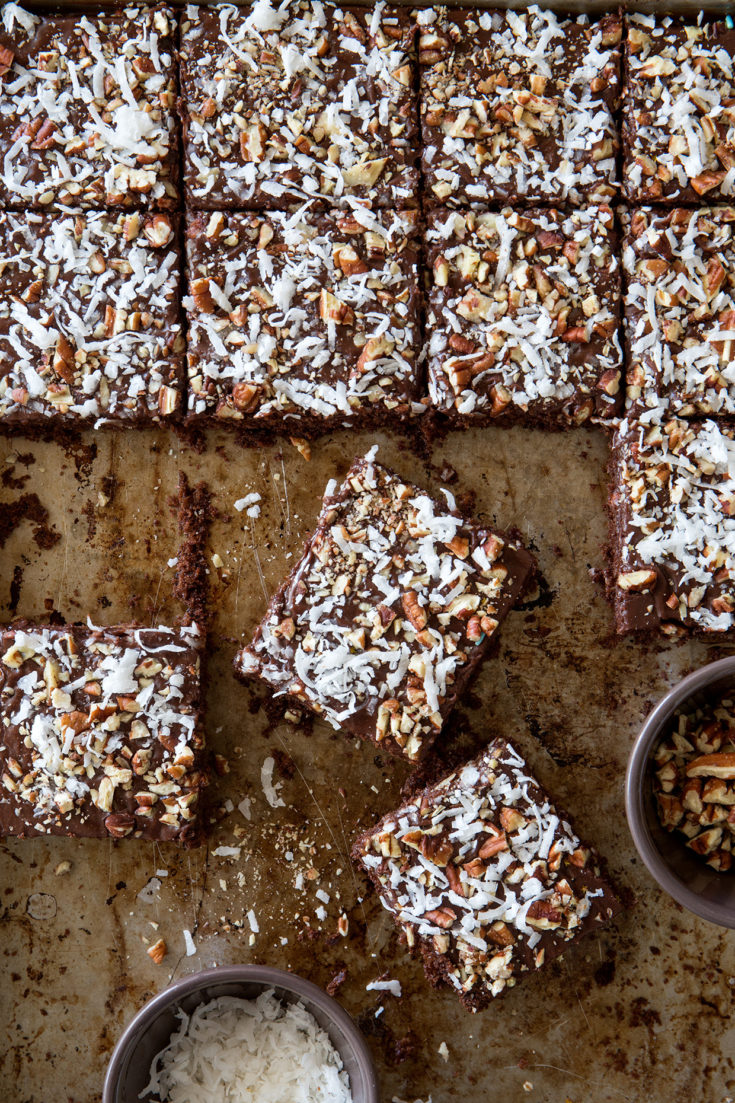 Chocolate Pecan and Coconut Sheet Cake