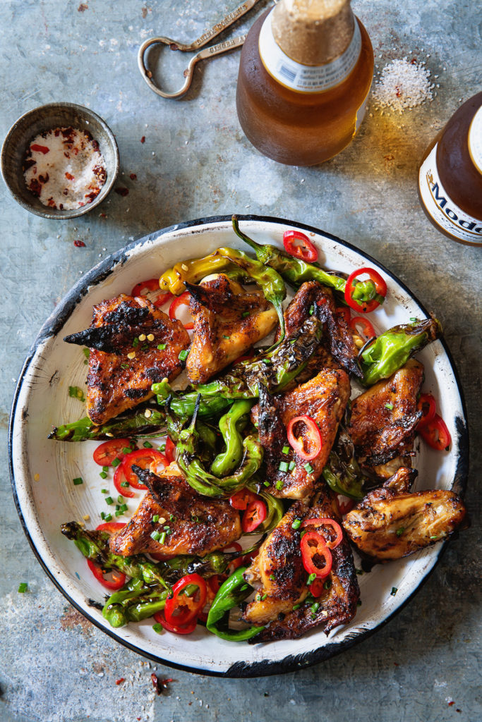 Grilled Chicken Wings with Shishito Peppers