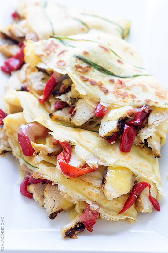 Grilled Chicken and Peppers Crepe-Quesadilla