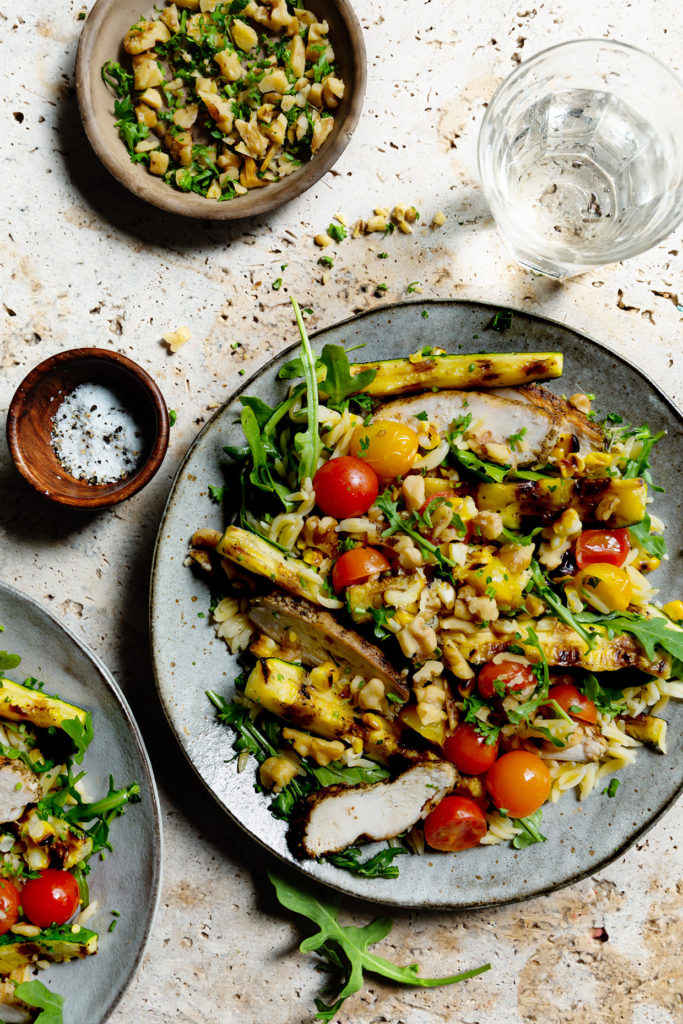 Grilled Chicken and Veggie Orzo Salad with Toasted Walnuts