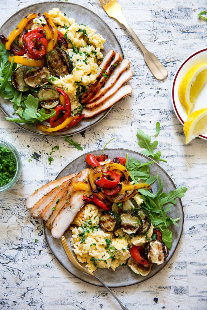 Grilled Chicken and Veggie Risotto
