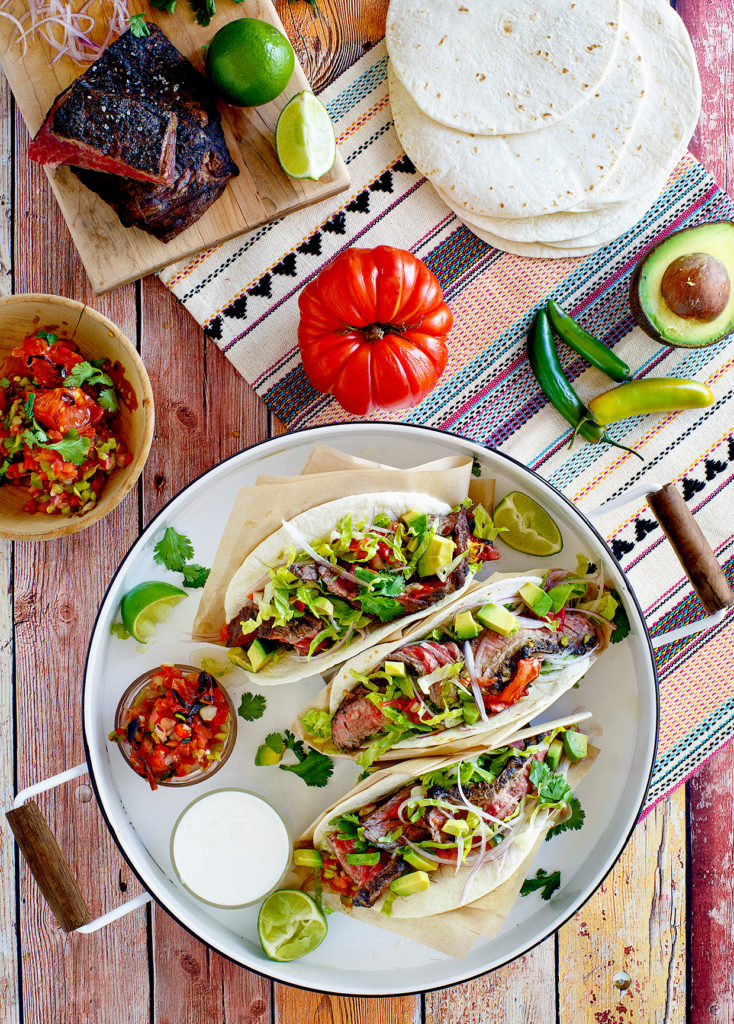Grilled Skirt Steak Tacos with Roasted Tomato Salsa