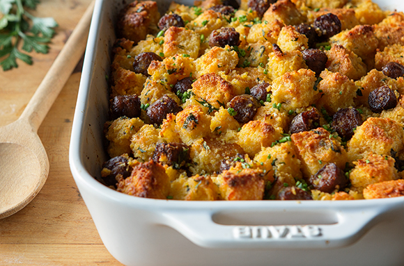 Spicy Jalapeño and Cheddar Cornbread Stuffing with Sausage