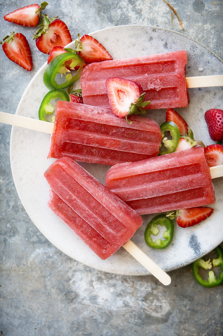 Strawberry and Jalapeno Gin Smash Popsicles