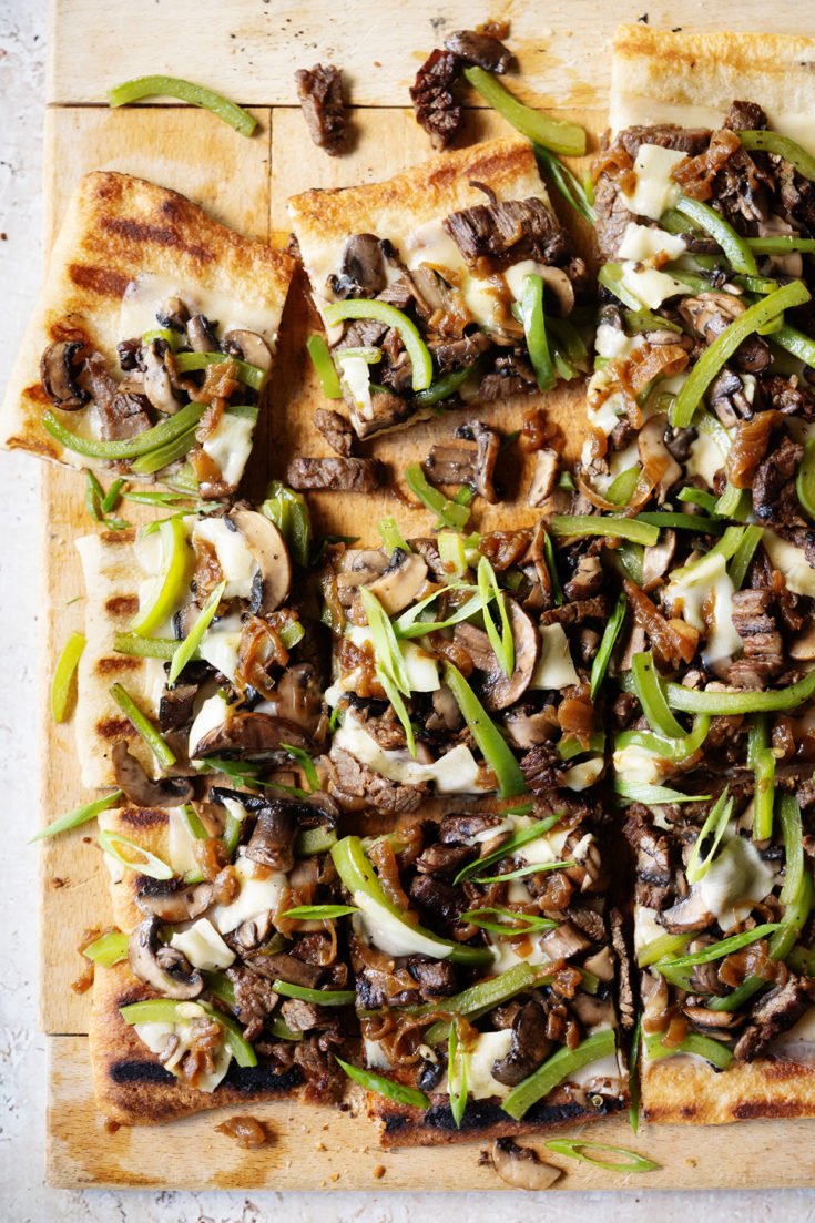 Grilled Philly Cheesesteak Pizza ~ Your favorite sandwich layers on a grilled pizza crust!
