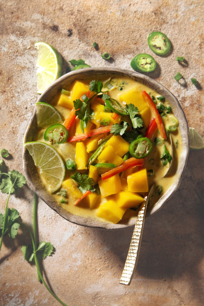 Mango Coconut Curry Soup