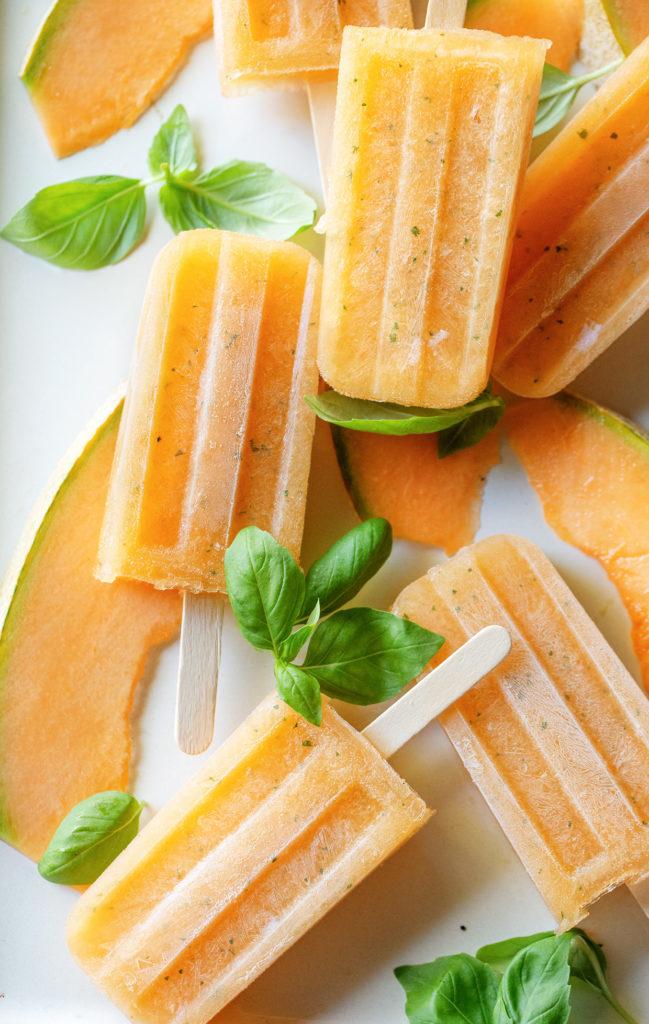 Melon Basil Moscow Mule Popsicles