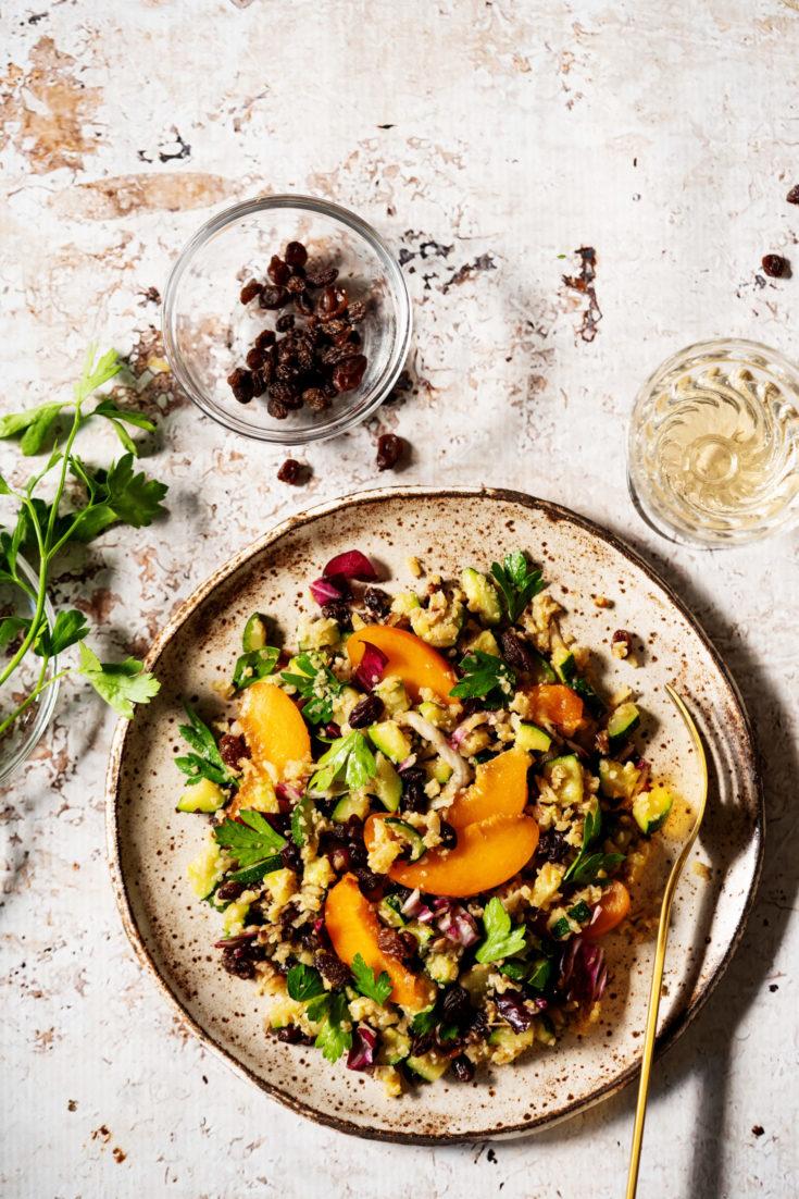 Summer Cauli Rice with Apricot and Raisins