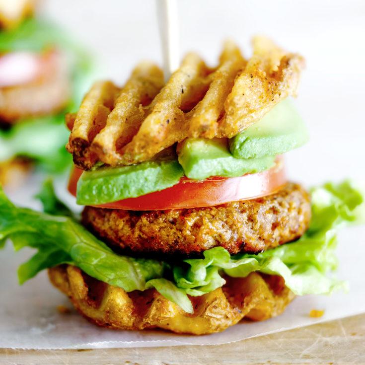 Waffled Vegetarian Breakfast Sliders ~ A fun vegetarian breakfast that everyone will enjoy!