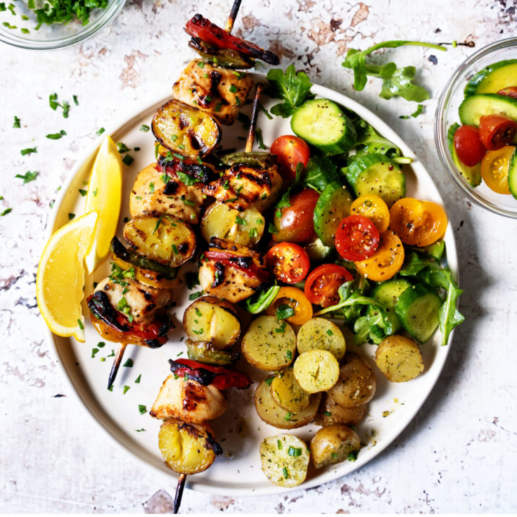 Grilled Tequila Chicken and Potato Kabobs