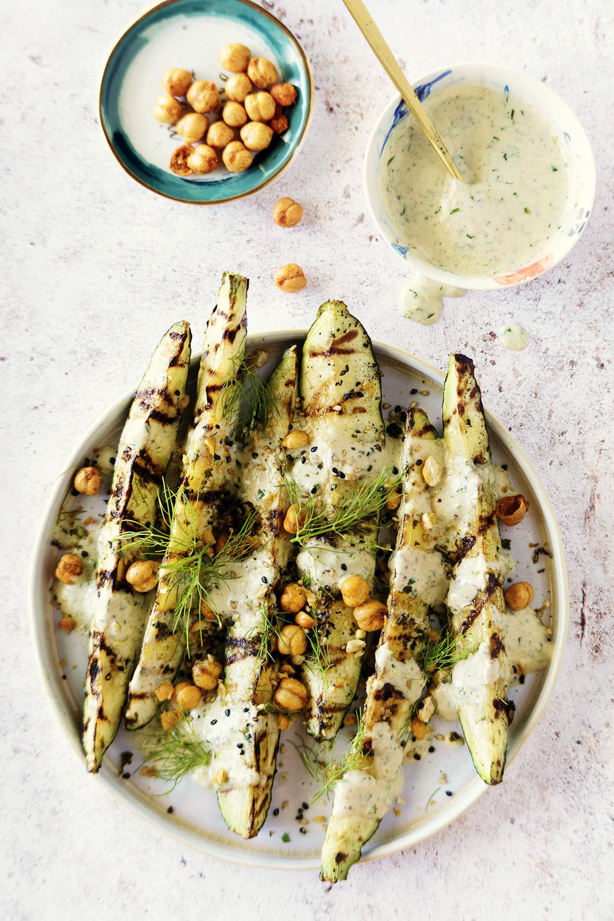 Grilled Zucchini with Savory Yogurt Sauce