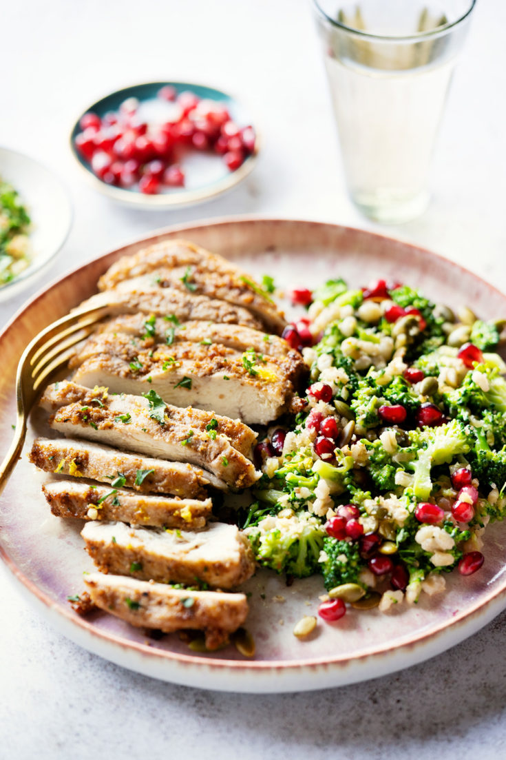 Dukkah Chicken and Broccoli Salad with Toasted Walnuts